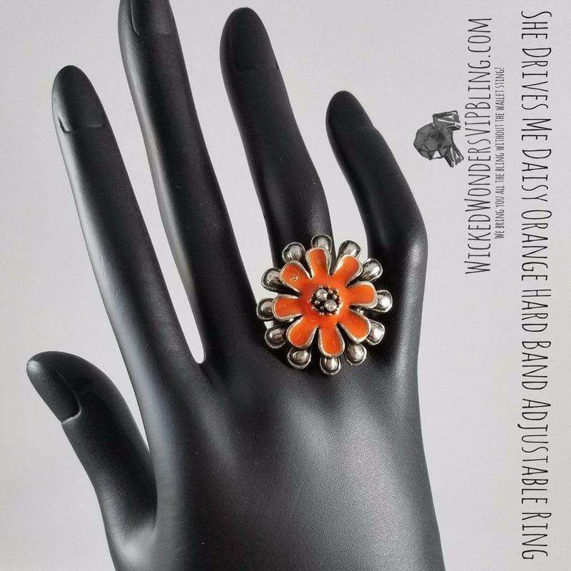 Wicked Wonders VIP Bling Ring She Drives Me Daisy Orange Hard Band Adjustable Ring Affordable Bling_Bling Fashion Paparazzi