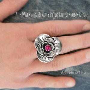 Wicked Wonders VIP Bling Ring She Walks in Beauty Pink Ring Affordable Bling_Bling Fashion Paparazzi