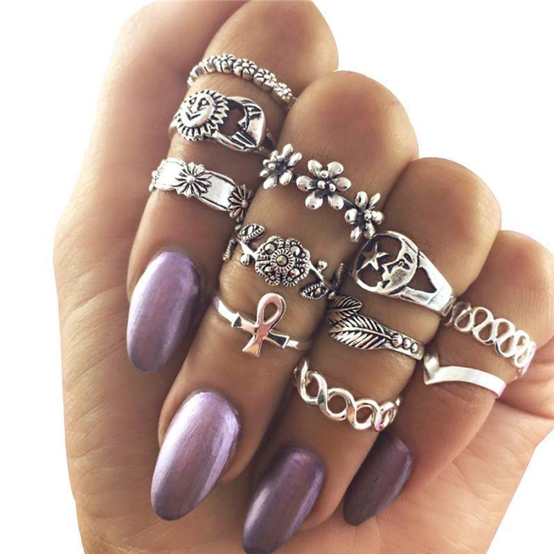 Wicked Wonders VIP Bling Ring Sun and Moon Midi Knuckle Ring Set Affordable Bling_Bling Fashion Paparazzi
