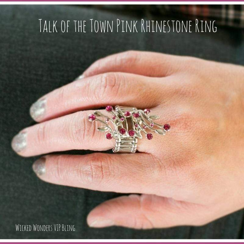 Wicked Wonders VIP Bling Ring Talk of the Town Pink Rhinestone Ring Affordable Bling_Bling Fashion Paparazzi
