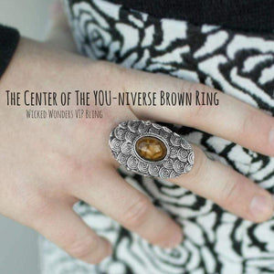 Wicked Wonders VIP Bling Ring The Center of the YOU-niverse Brown Ring Affordable Bling_Bling Fashion Paparazzi