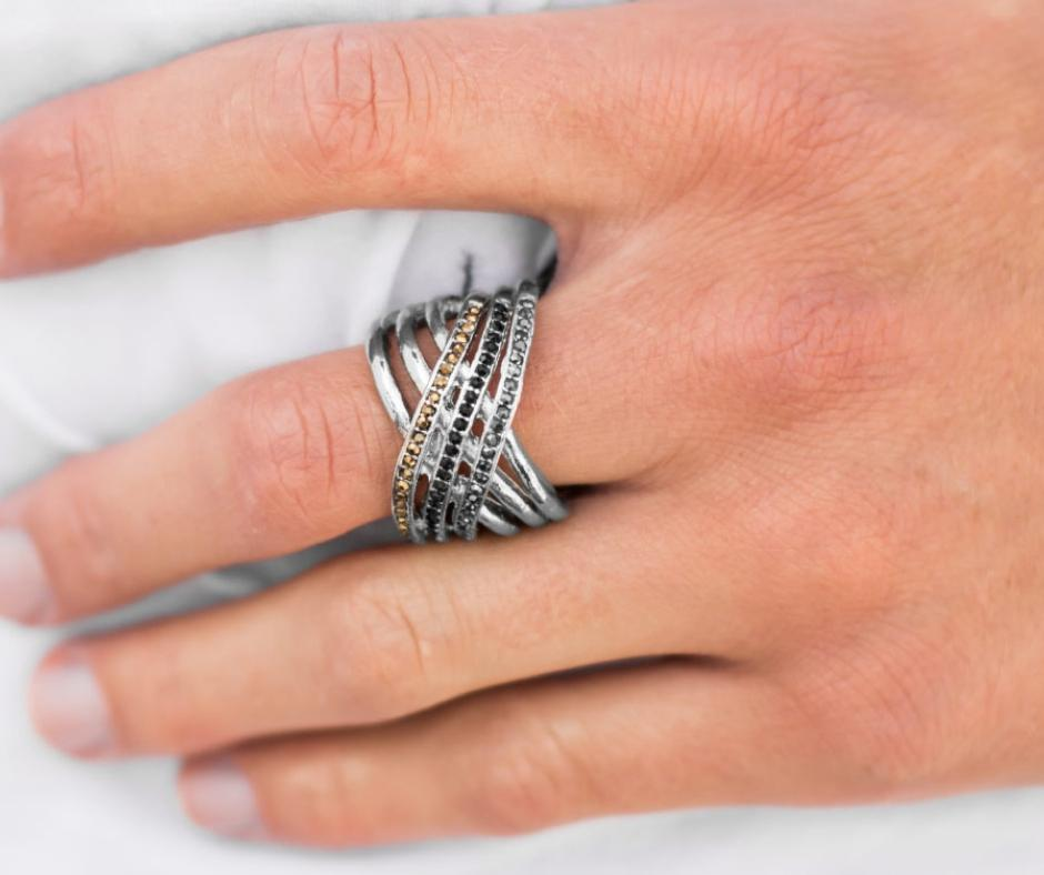 Wicked Wonders VIP Bling Ring The High Dive Black, Silver and Brass Rhinestone Ring Affordable Bling_Bling Fashion Paparazzi