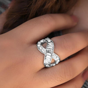 Wicked Wonders VIP Bling Ring We've Got Nothing But Time White Rhinestone Ring Affordable Bling_Bling Fashion Paparazzi