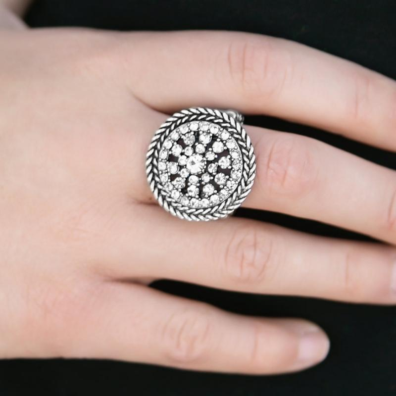 Wicked Wonders VIP Bling Ring Wheel of Fortune White Rhinestone Ring Affordable Bling_Bling Fashion Paparazzi