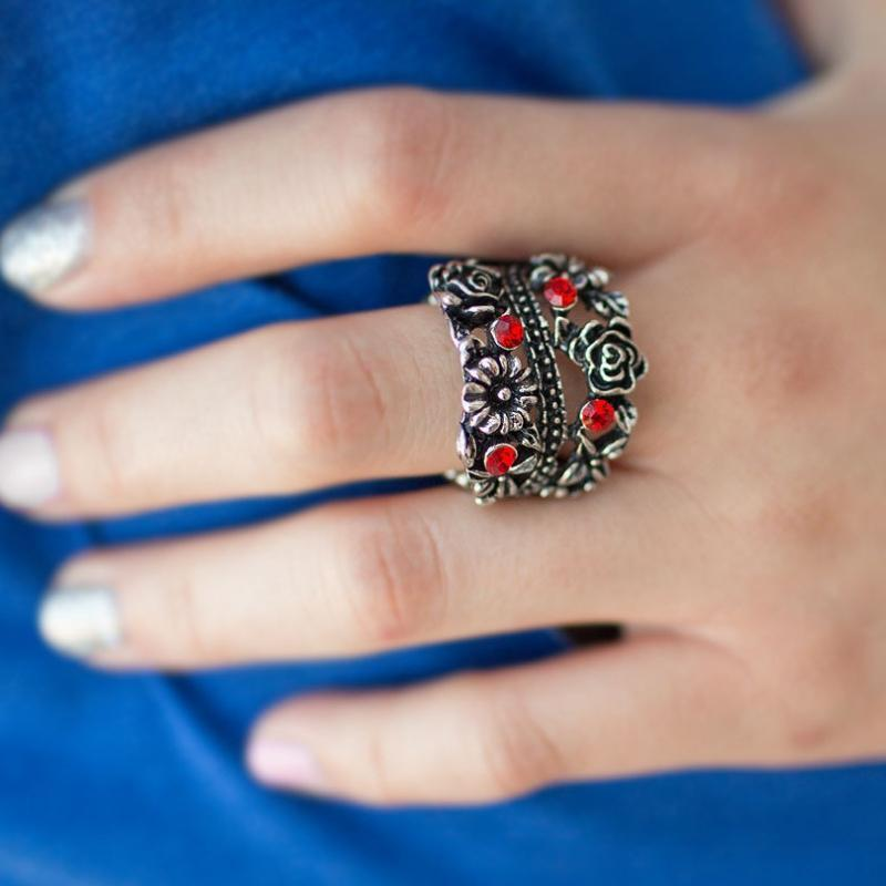 Wicked Wonders VIP Bling Ring Wild Blooms Red Ring Affordable Bling_Bling Fashion Paparazzi