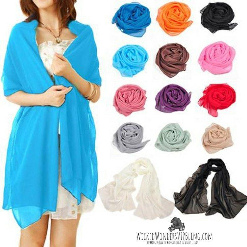 Wicked Wonders VIP Bling Scarf Lightweight Long Chiffon Feel Pashmina Scarf Affordable Bling_Bling Fashion Paparazzi