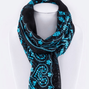 Wicked Wonders VIP Bling Scarf Sequins Peacock Fringe Lace Scarf Blue Affordable Bling_Bling Fashion Paparazzi