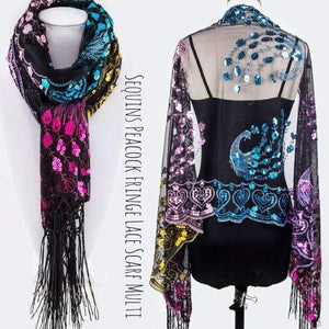 Wicked Wonders VIP Bling Scarf Sequins Peacock Fringe Lace Scarf Multi Affordable Bling_Bling Fashion Paparazzi
