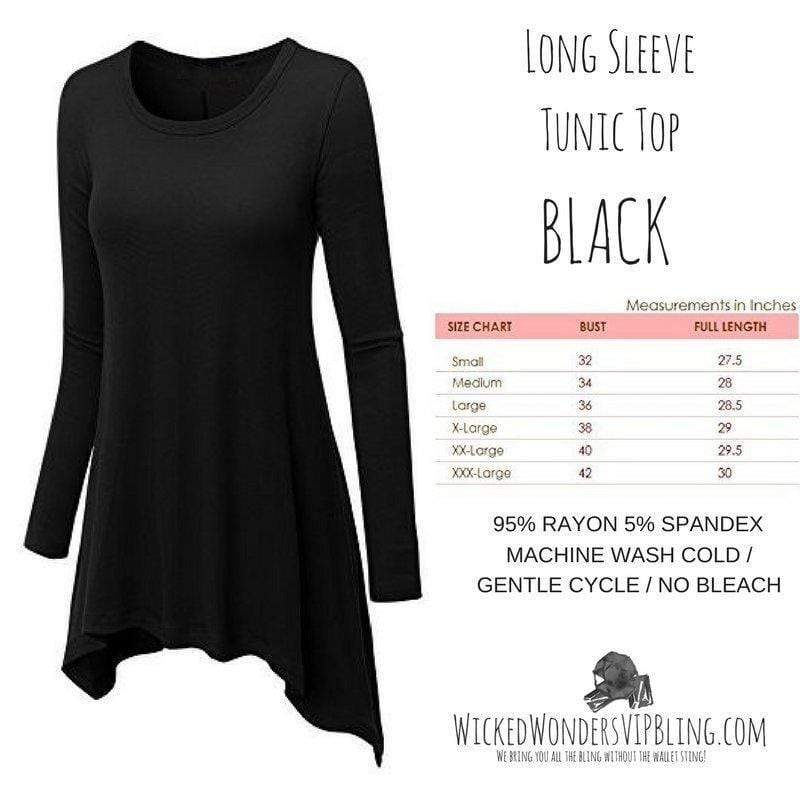 Wicked Wonders VIP Bling Shirt Long Sleeve Tunic Top Black Affordable Bling_Bling Fashion Paparazzi