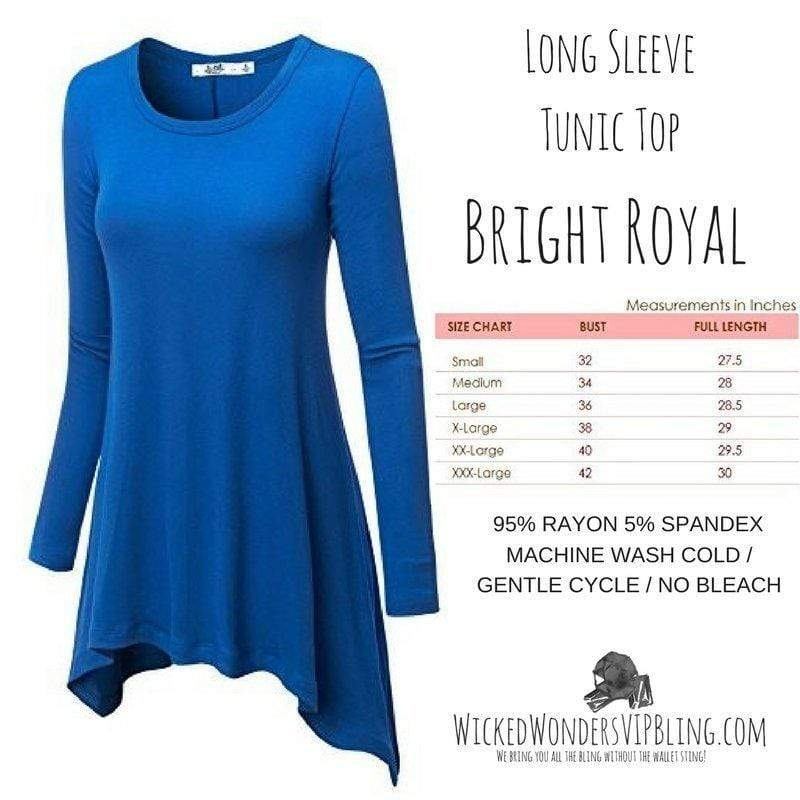 Wicked Wonders VIP Bling Shirt Long Sleeve Tunic Top Bright Royal Affordable Bling_Bling Fashion Paparazzi