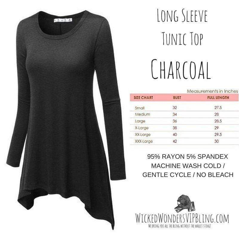 Wicked Wonders VIP Bling Shirt Long Sleeve Tunic Top Charcoal Affordable Bling_Bling Fashion Paparazzi