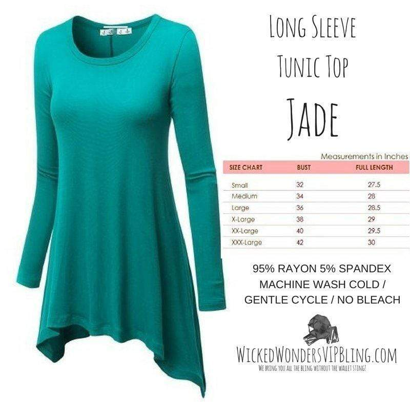 Wicked Wonders VIP Bling Shirt Long Sleeve Tunic Top Jade Affordable Bling_Bling Fashion Paparazzi