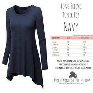 Wicked Wonders VIP Bling Shirt Long Sleeve Tunic Top Navy Affordable Bling_Bling Fashion Paparazzi