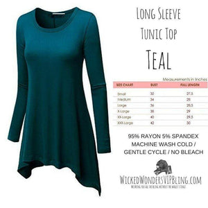 Wicked Wonders VIP Bling Shirt Long Sleeve Tunic Top Teal Affordable Bling_Bling Fashion Paparazzi
