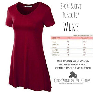 Wicked Wonders VIP Bling Shirt Short Sleeve Tunic Top BURGUNDY Affordable Bling_Bling Fashion Paparazzi