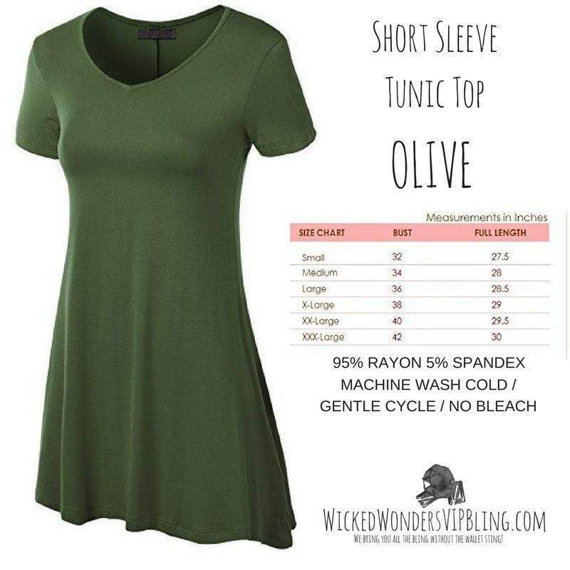 Wicked Wonders VIP Bling Shirt Short Sleeve Tunic Top OLIVE Affordable Bling_Bling Fashion Paparazzi