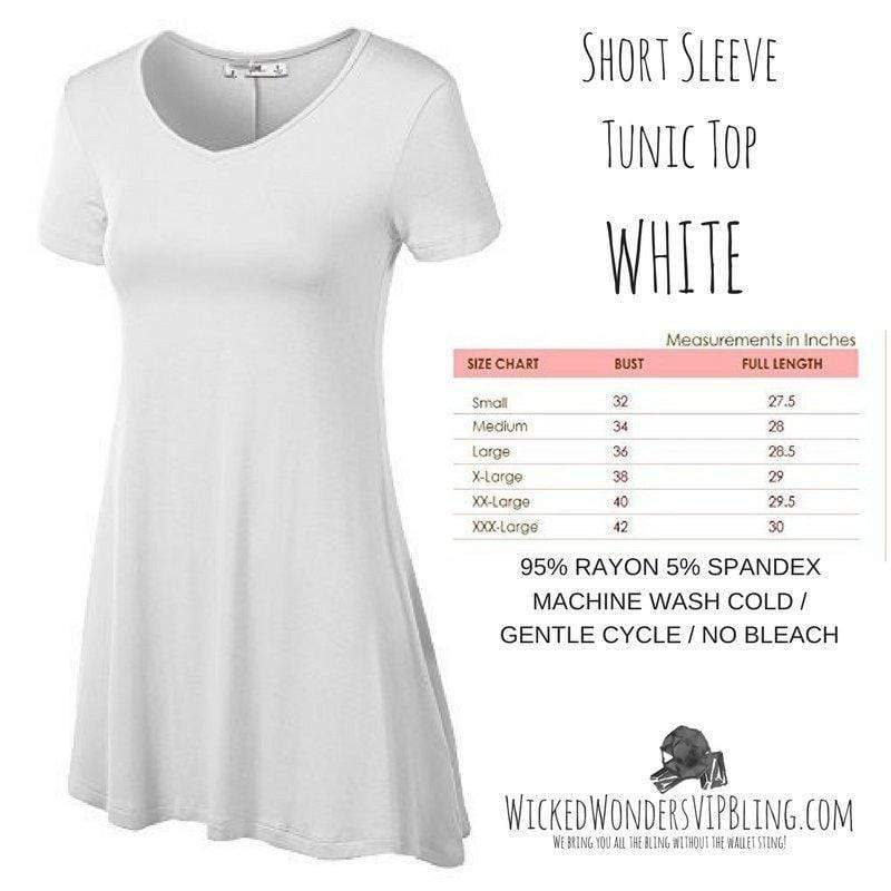 Wicked Wonders VIP Bling Shirt Short Sleeve Tunic Top WHITE Affordable Bling_Bling Fashion Paparazzi