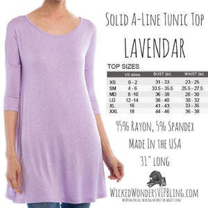 Wicked Wonders VIP Bling Shirt Solid A-Line Tunic Top Lavendar Affordable Bling_Bling Fashion Paparazzi