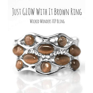 Wicked Wonders VIP Bling SOLD OUT Just GLOW With It Brown Ring Affordable Bling_Bling Fashion Paparazzi