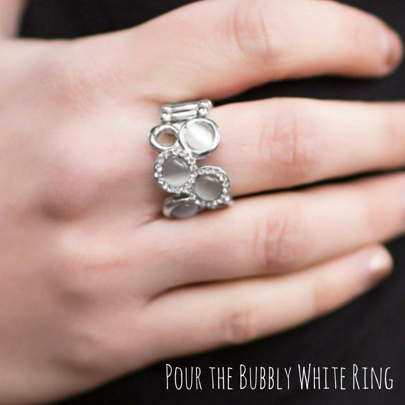 Wicked Wonders VIP Bling SOLD OUT Pour the Bubbly White Ring Affordable Bling_Bling Fashion Paparazzi