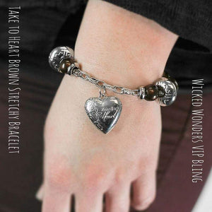 Wicked Wonders VIP Bling SOLD OUT Take to Heart Brown Stretchy Bracelet Affordable Bling_Bling Fashion Paparazzi