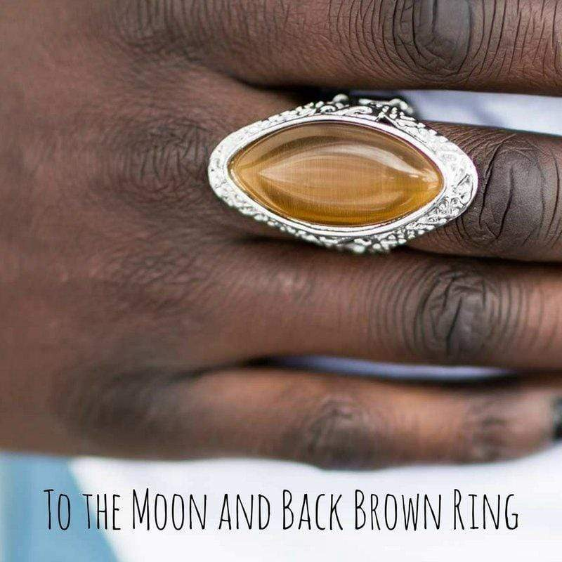 Wicked Wonders VIP Bling SOLD OUT To the Moon and Back Brown Ring Affordable Bling_Bling Fashion Paparazzi