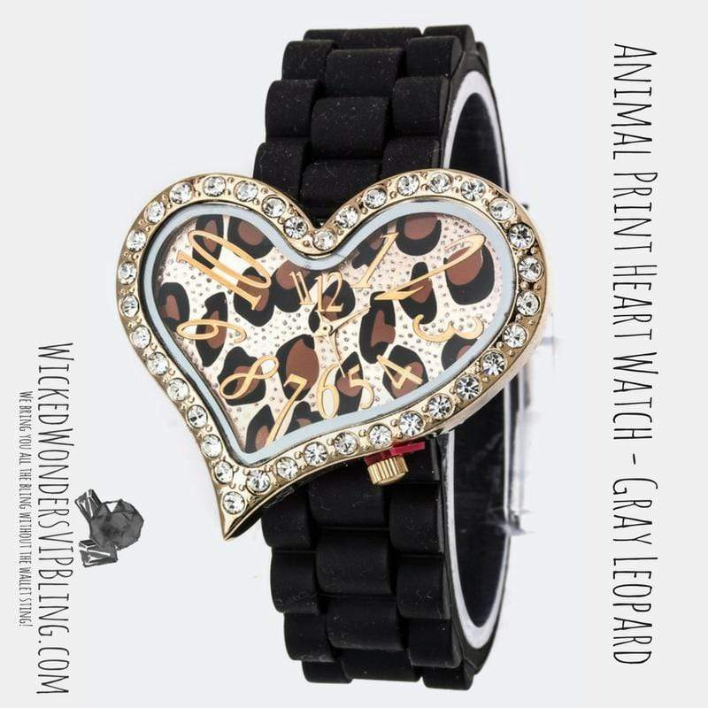 Wicked Wonders VIP Bling Watch Animal Print Heart Watch Leopard Brown Affordable Bling_Bling Fashion Paparazzi