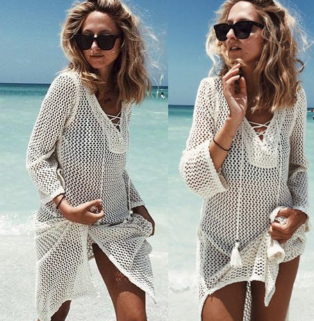 Bandage Tie Rope Hollow Out Crochet Cover Up Beach Sarong Bathing Suit Swimsuit Beach Cover Ups Swimwear Women Beach Dress Tunic