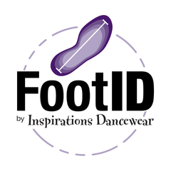 FootID™ standardized foot measuring system for shopping for dance shoes online.