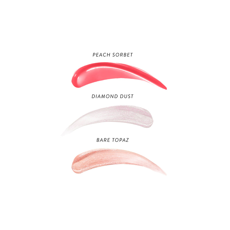 Color Luster Lip Gloss Hi-Def Top Coat (Set of 3) Swatches