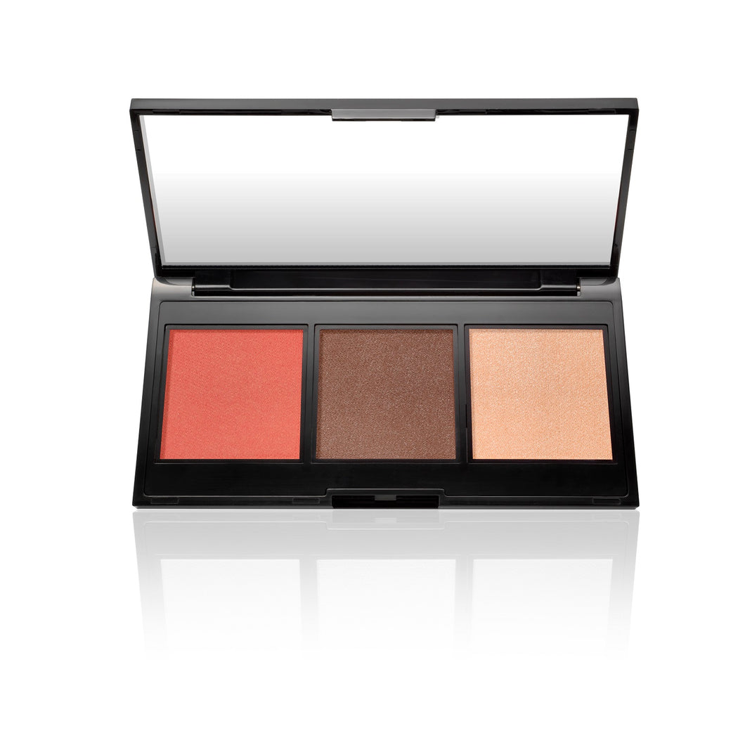Multitasking Eye, Lip, Cheek Palette Cream to Powder Trio, Shades of Nudes
