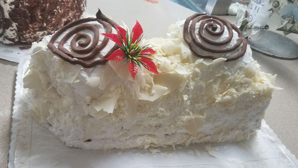 White Bavarian Raspberry Yule Log
