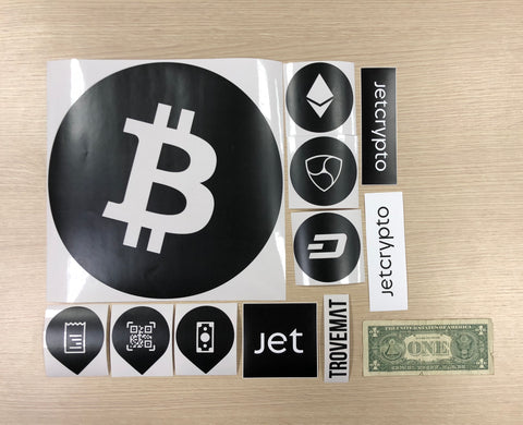 Set of Trovemat and Jetcrypto stickers