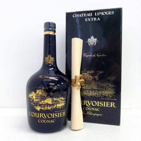 Unopened COURVOISIER Blue pottery 700ml With box