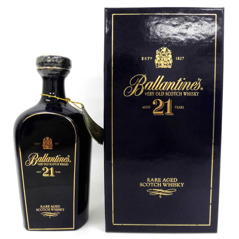 Unopened Ballantine's 21 years blue pottery 700ml with a box