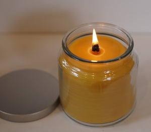 16 oz Wooden Wick Pure Beeswax Candle