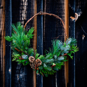 Outdoor Grapevine Evergreen Wreath