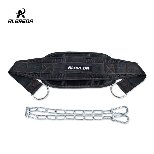 ALBREDA Gym Dumbbells Weight Lifting Belt Fitness Equipment  Drop Shipping Dip belt Strength Pull up Load belt Power Exercise