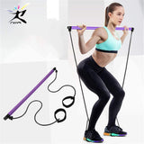 Pilates Stick Bar with Resistance bands  Portable Fitness Pilates Bar Crossfit Bodybuilding Rubber Tube Bands Yoga Exercise Work