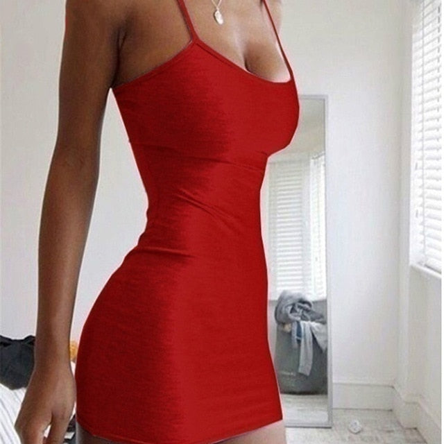 Fashion Stretch Mini Dress Women Sexy Straps Slim Fit Bodycon Party Vestidos Spaghetti Straps Dress Summer Solid Sling Dreses
