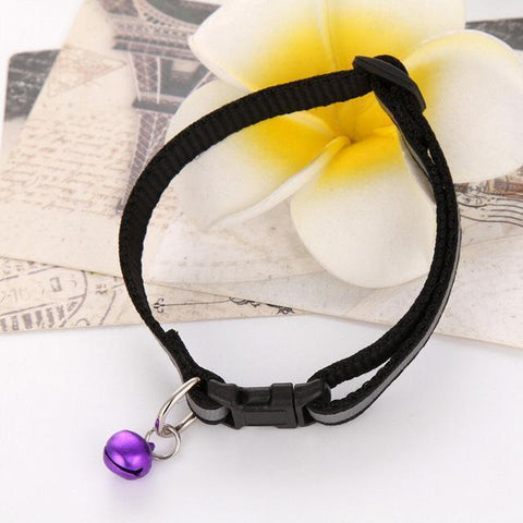 Shopacat Default Title Black Reflective Cat's Collar with Purple Bell