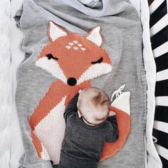 Baby Knitting Blanket with Fox Pattern - Kids & Babies Kids & Babies