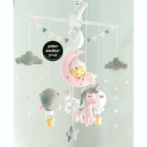 Hand crafted unicorn nursery mobile - baby mobile
