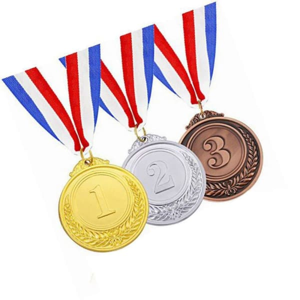 Olympic Gold Silver Bronze Award Medals - Medals Gold Silver Bronze with Ribbon ( ships US only) - 36.00 months - Toy