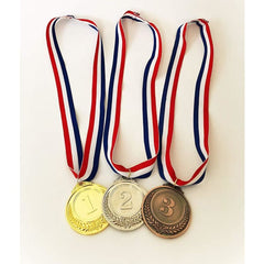 Olympic Gold Silver Bronze Award Medals - Medals Gold Silver Bronze with Ribbon ( ships US only) - Toy
