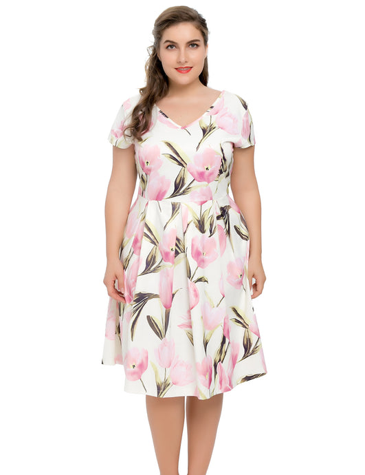 f7fea052fe2 Women s Stretch Plus Size Lily Floral Printed Dress