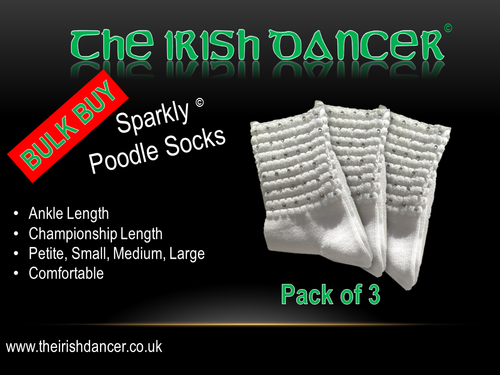 Sparkly Champ Poodle Socks - Bulk Pack Clear