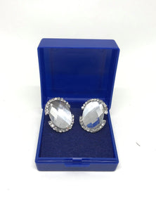 Oval Crystal Stud Earrings