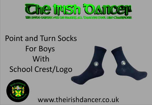 Boyle O'Dowda - BOYS Point and Turn School Crest/Logo Poodle Socks