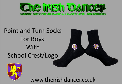 Matthews Academy - BOYS Point and Turn School Crest/Logo Poodle Socks